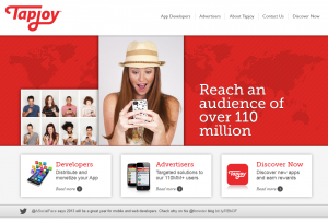 Tapjoy.com Mobile Advertising Network home page full size image