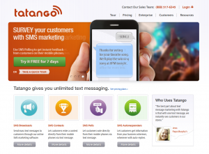 Tatango.com SMS/Text Marketing Software home page full size image