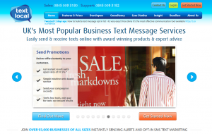 TextLocal.com SMS/Text Marketing Software home page full size image