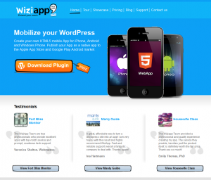 WiziApp.com Mobile App Design Wordpress Plugin home page full size image