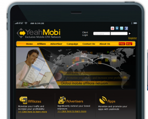 YeahMobi.com Mobile Affiliate Network home page full size image