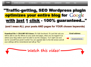 1ClickWPSEO.com Wordpress SEO Plugin homep page full size image