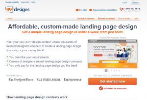99designs.com Landing Page Design Service overview page full size image