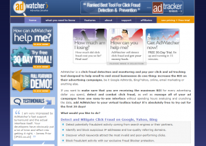 AdWatcher.com PPC Search Management and Click fraud monitor software home page full size image