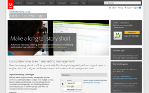 Adobe SearchCenter+ SEM Management solution overview page full size image