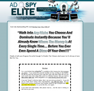 AdSpyElite.com Search Engine Marketing keyword software home page full size image