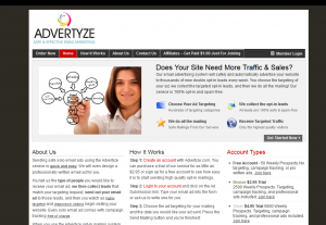 Advertyze.com Solo Email Advertising service home page full size image