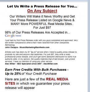 Articlez.com Press Release Writing service image