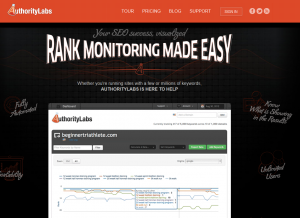 AuthorityLabs.com SEO Keyword Rank Tracking Software home page full size image