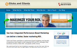 ClicksandClients.com SEM/PPC Management service home page full size image