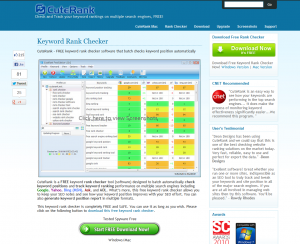 CuteRank.net Keyword Rank Tracking Software home page full size image