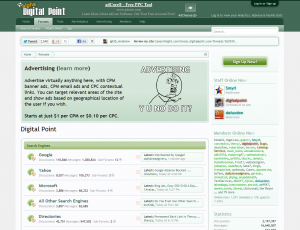 Digital Point Forums home page full size image