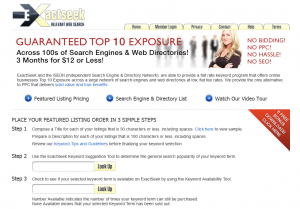 ExactSeek.com Featured Listings Program page full size image