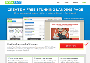 InstaPage.com Landing Page Software home page full size image