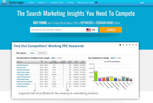 Ispionage.com Keyword Tool and PPC Campaign Builder over page full size image