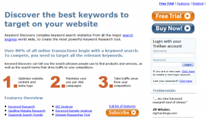 KeywordDiscovery.com SEO keyword research software home page full size image