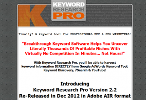KeywordResearchPro.com PPC/SEM Keyword Research Software full size home page image