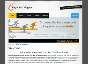 KeywordsMagnet.com SEO Keyword Research Software home page full size image