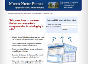 MicroNicheFinder.com SEO Keyword Research Software home page full size image