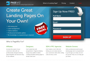 PageWiz.com Landing Page Software home page full size image