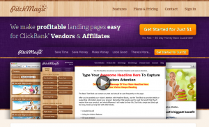 PitchMagic.com Landing Page Software home page full size image