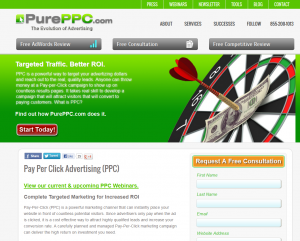 PurePPC.com SEM/PPC Management service home page full size image