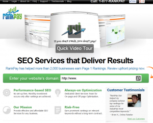 RankPay.com SEO Services home page full size image