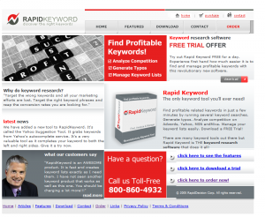 RapidKeyword.com PPC/SEM Keyword Research Software home page full size image