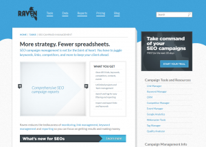 RavenTools.com SEO Campaign Management software overview page full size image