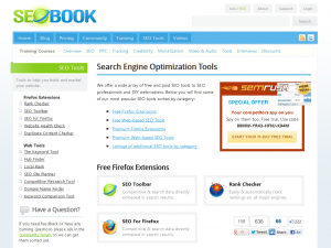 SEObook.com SEO Software and tools overview page full size image