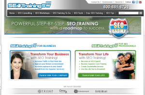 SEOTrainingSW.com SEO Training Workshops and Courses home page full size image