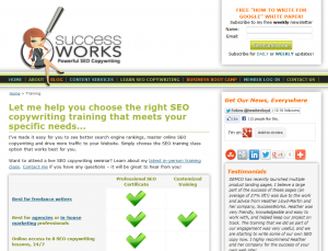 SuccessWorks.com SEO Copywriting Training overview page full size image