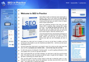 SEOinPractice.com SEO Training eBook home page full size image