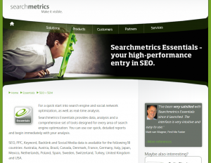 SearchMetrics.com Essentials SEO software overview page full size image