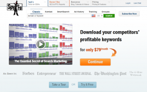 SpyFu.com SEO Competitive Analysis Software home page full size image