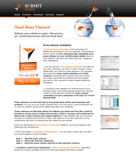 SubmitSuite.com Press Release Submitter software page full size image