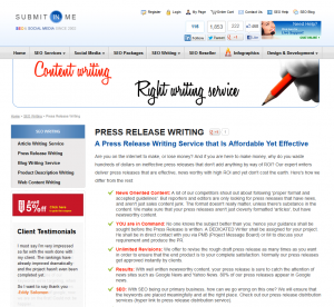 SubmitinMe.com Press Release writing service page full size image