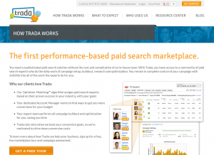 Trada.com Search Advertising/PPC Management service overview page full size image