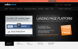 Unbounce.com Landing Page Software home page full size image
