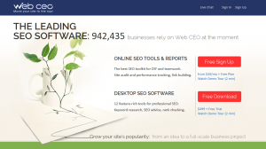 WebCEO.com SEO Management Software home page full size image