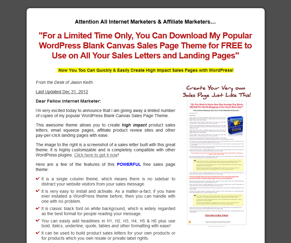 Wp Sales Letter Theme Reviews Ratings Info Website Marketing