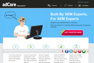 adCore.com SEM Management software home page full-size image