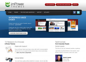 imPowerThemes.com Wordpress SEO Themes home page full size image