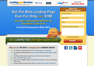 LandingPageServices.com Landing Page Design service home page full size image