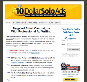 10DollarSoloAds.com Solo email advertising service home page full size image
