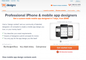 99Designs.com Mobile App Design contest overview page full size image