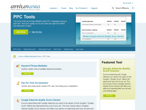 Affilorama.com PPC/Adwords Tools overview page full size image