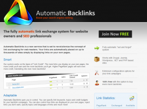 AutomaticBacklinks.com link marketplace and exchange directory home page full size info