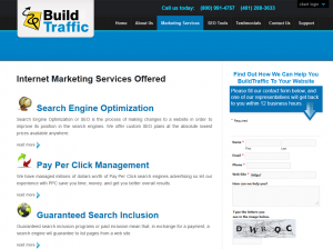 BuildTraffic.com SEO services home page full size image