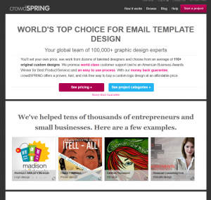 CrowdSpring.com Email Template Design overview page full size image